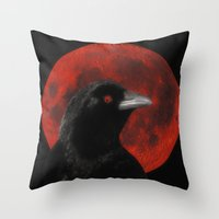 Crow And The Red Glow Moon Throw Pillow