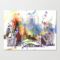 Chicago Bean Cityscape W… Canvas Print