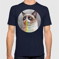 Cat Tastes The Grumpy Ra… Mens Fitted Tee Navy SMALL