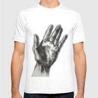 Hand Drawing Hand Mens Fitted Tee White SMALL