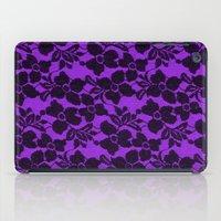 Black Lace On Purple iPad Case