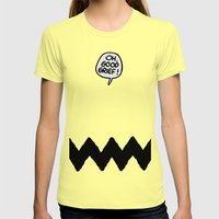 CHARLIE CHEVRON Womens Fitted Tee Lemon SMALL