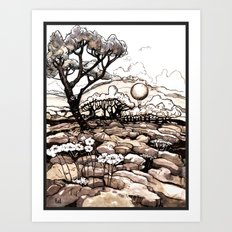 Moonlight Ride - Black and White Rendition Art Print
