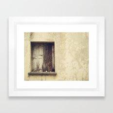 Wood window Framed Art Print