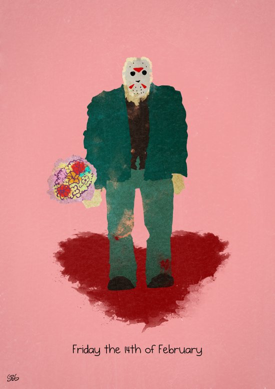 Friday the 14th of February (Monsters in Love) Art Print