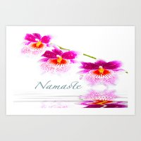 Namasta White And Pink Orchids Art Print