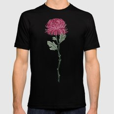 Pink Chrysanthemum SMALL Black Mens Fitted Tee