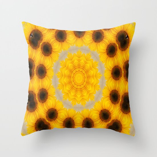 Sunflower and Bee Abstract Throw Pillow