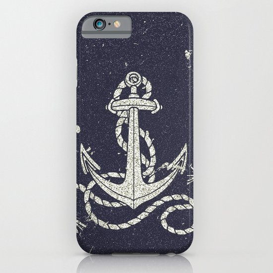 Navy Blue Nautical White Anchor for Sailor Texture iPhone & iPod Case