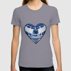 R2D2 Star Wars Heart Womens Fitted Tee Slate SMALL