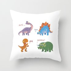 Potty Mouth Dinos Group Throw Pillow