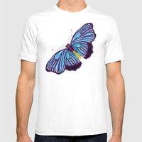 Butterflies And Burlap Mens Fitted Tee White SMALL
