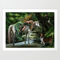 Sleeping Fairy On Unicor… Art Print