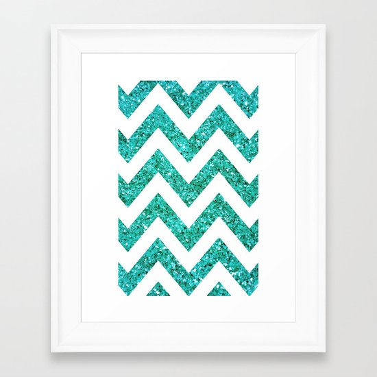 TEAL GLITTER CHEVRON Framed Art Print