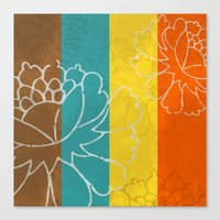 Chinese Flowers & Stripe… Canvas Print