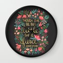 Little & Fierce on Charcoal Wall Clock