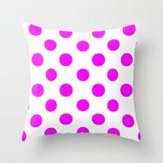 Polka Dots (Fuchsia/White) Throw Pillow