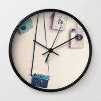 Hanging Retro Cameras  Wall Clock