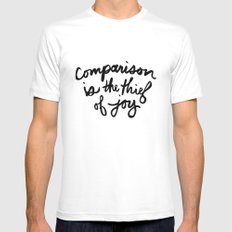 Comparison is the thief of joy (black and white) SMALL Mens Fitted Tee White