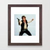 Han With Gun Pixels Text… Framed Art Print