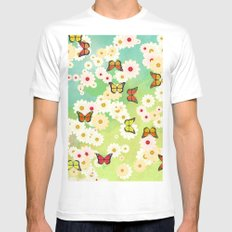 Daisies and butterflies Mens Fitted Tee White SMALL