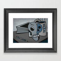 Skull, Book And Coffee Framed Art Print