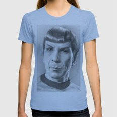 Spock - Fascinating (Star Trek TOS) Womens Fitted Tee Athletic Blue SMALL