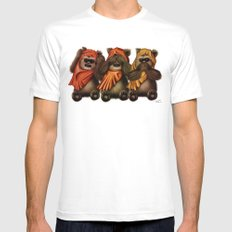STAR WARS The Three Wise Ewoks Mens Fitted Tee White SMALL