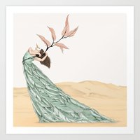 Pastel Dancer With Leafs & Feathers - Art Print/ Wall Décor / Wall Art Art Print