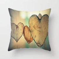 Vintage Translucent Hear… Throw Pillow