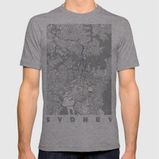 Sydney Map Line Mens Fitted Tee Athletic Grey SMALL