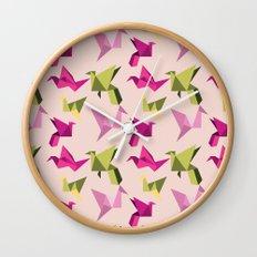 pink paper cranes Wall Clock