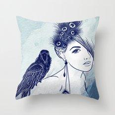 Parrot Girl Throw Pillow