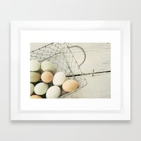 Eggs in one basket Framed Art Print