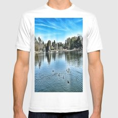 Day at the Lake SMALL White Mens Fitted Tee