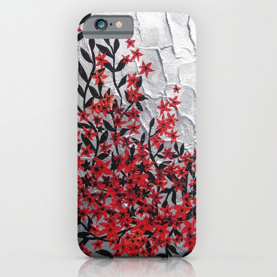 Red and black tree with textured silver background -Modern design iPhone & iPod Case