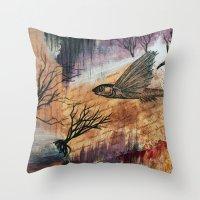 Literary Flying Fish Throw Pillow