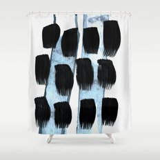 Black White Blue Shower Curtain