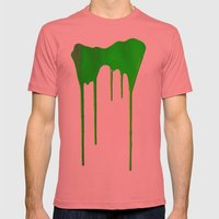 Green Splatter Mens Fitted Tee Pomegranate SMALL