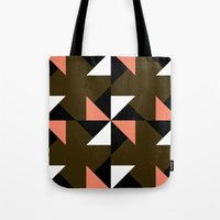 Pink, white & brown triangle motif Tote Bag