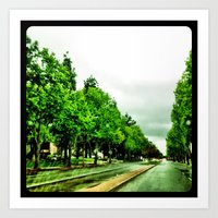 The grey sky makes the green pop. Art Print