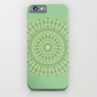 iPhone Cases featuring Golden Mandala on Mint by Lena Photo Art