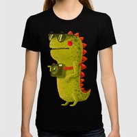 Dino touristo (olive) Womens Fitted Tee Black SMALL