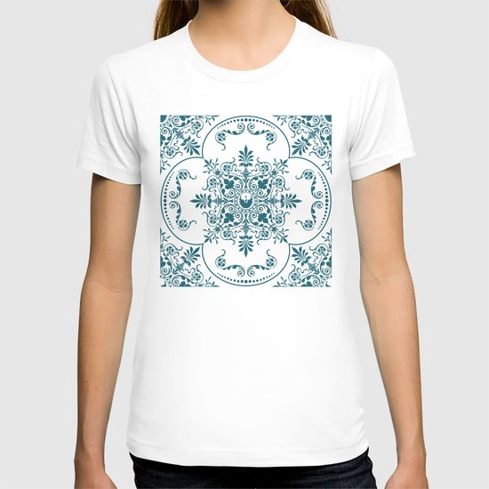 Decorative Pattern in Creme and Blue T-shirt