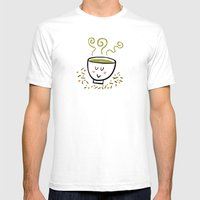 Genmaicha Tea Mens Fitted Tee White SMALL