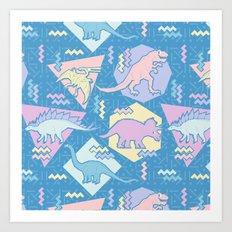 Nineties Dinosaurs Pattern  - Pastel version Art Print