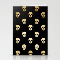 Gold Skull on black Stationery Cards