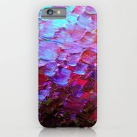 iPhone Cases featuring MERMAID SCALES - Colorful Ombre Abstract Acrylic Impasto Painting Violet Purple Plum Ocean Waves Art by EbiEmporium