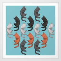 Sleeping Cats Pattern Art Print