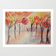 Autumn Trees Watercolour Art Print